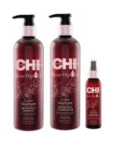 CHI Rose Hip Oil color care pakket XL