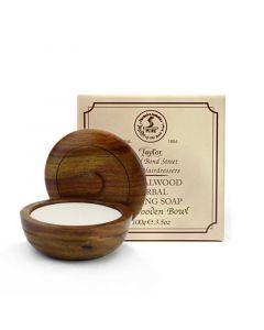 Taylor of Old Bond Street Wooden Bowl + Sandalwood  Soap 100gr
